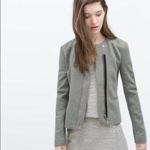 ZARA Trafaluc Gray Moto Jacket Size Large